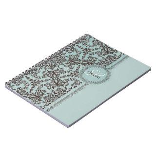 Damask Blue Brown Notebook