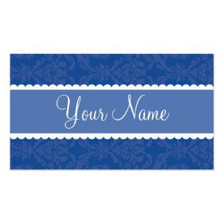 Damask Blue Business Card Templates