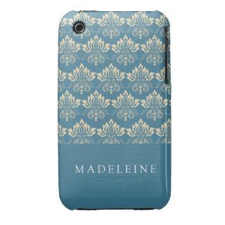 Damask Blue Cream Case-Mate iPhone 3 Case