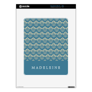 Damask Blue Cream Decal For The iPad