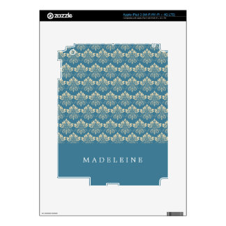 Damask Blue Cream Decals For iPad 3