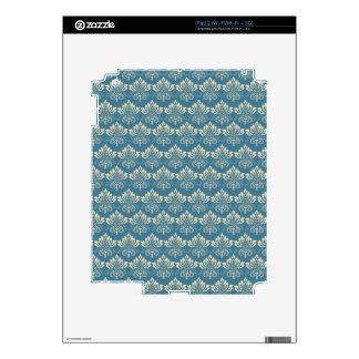 Damask Blue Cream iPad 2 Skin