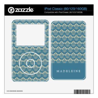 Damask Blue Cream iPod Classic Decal