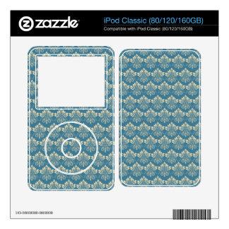 Damask Blue Cream iPod Classic Skins