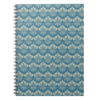 Damask Blue Cream Note Books