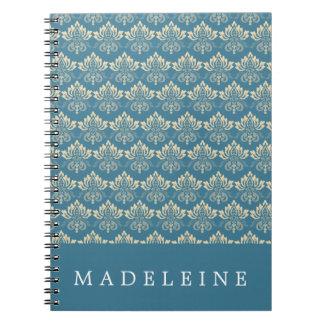 Damask Blue Cream Notebook