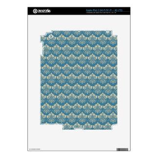 Damask Blue Cream Skins For iPad 3