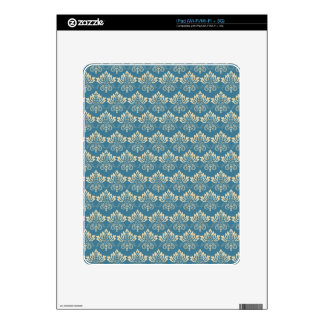 Damask Blue Cream Skins For The iPad