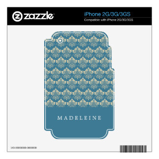 Damask Blue Cream Skins For The iPhone 2G