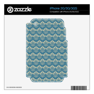Damask Blue Cream Skins For The iPhone 3G