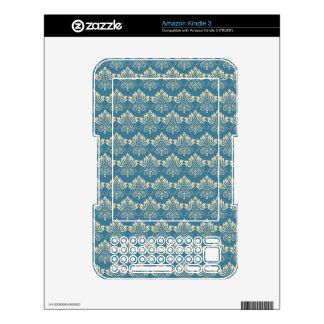 Damask Blue Cream Skins For The Kindle