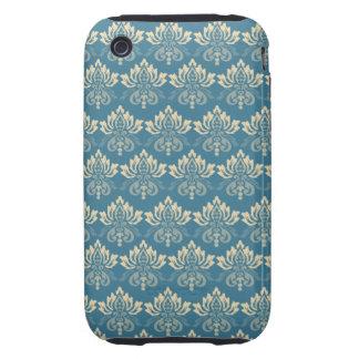 Damask Blue Cream Tough iPhone 3 Cases