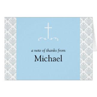 Damask Blue Cross Note Card