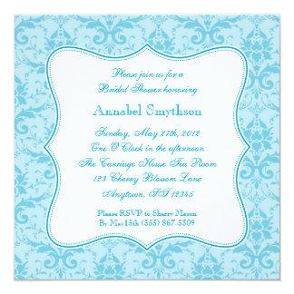 "Damask Blue Elegance Invitation 5.25"" Square Invitation Card"