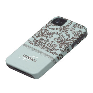 Damask Blue iPhone 4/4S Case-Mate Barely There Case-Mate iPhone 4 Cases