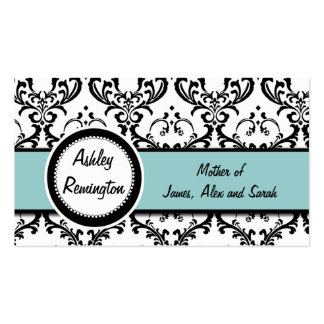 Damask Blue Mommy Calling Cards Business Card