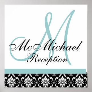 Damask Blue Monogram Wedding Reception Poster