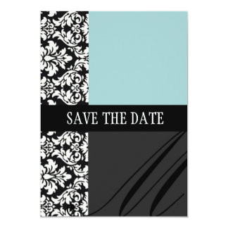 Damask Blue Save The Date Card