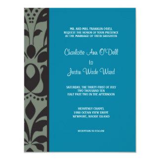 damask blue; wedding card