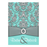 Damask Blue White Wedding Invitations