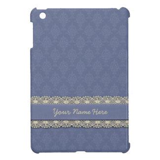 Damask Blue With Ecru Trim iPad Mini Case