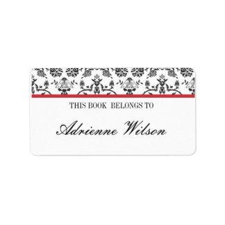 Damask Bookplate Address Label