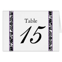 damask border elegant purple table seating card
