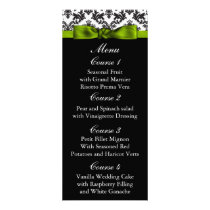 damask border green Wedding menu
