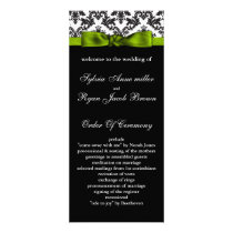damask border green Wedding program