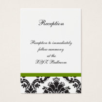 damask border green wedding Reception Cards