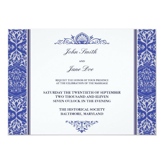 damask border invitation in royal blue