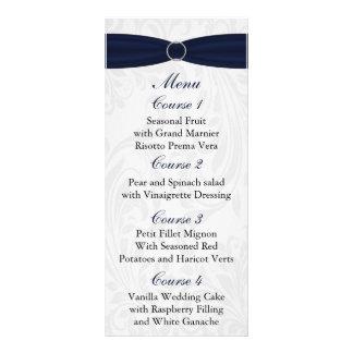 "damask border ""navy blue"" Wedding menu"
