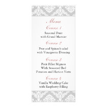 damask border pink Wedding menu