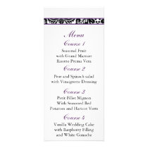 damask border purple Wedding menu