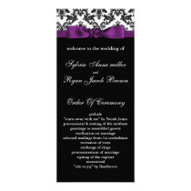 damask border purple Wedding program