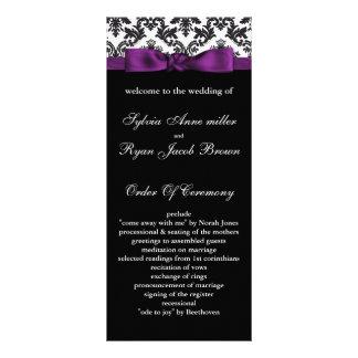 damask border purple Wedding program