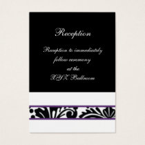 damask border purple wedding Reception Cards