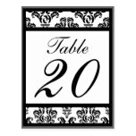 Damask Border Table Numbers (Black / Gray / White) Postcard