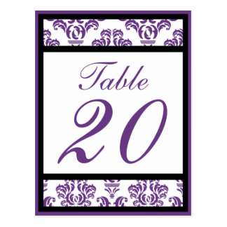 Damask Border Table Numbers (Black/Purple/White) Post Cards