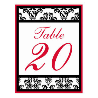 Damask Border Table Numbers (Black / Red / White) Postcard