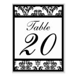 Damask Border Table Numbers (Black/Silver/White) Post Card