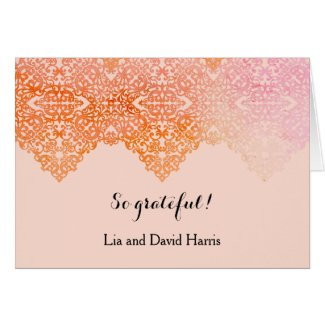 Damask Border Wedding Thank You Card Note Card