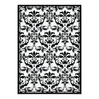 Damask Border with Double Frame (Black & White) 5x7 Paper Invitation Card