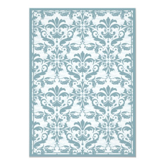 Damask Border with Double Frame (blue) 5x7 Paper Invitation Card