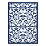 Damask Border with Double Frame (Navy & White) Invitations