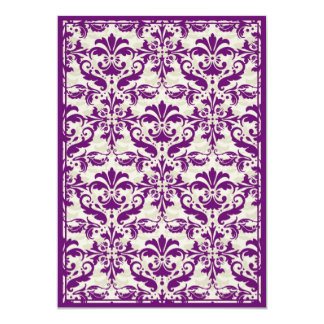 Damask Border with Double Frame (Plum & Beige) 5x7 Paper Invitation Card