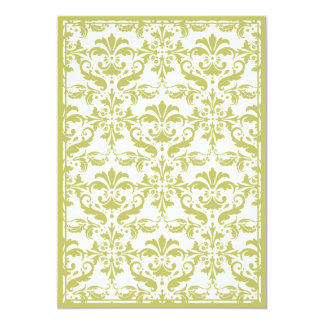 Damask Border with Double Frame (Yellow) 5x7 Paper Invitation Card