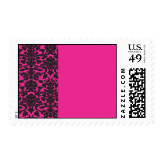 Damask border with hot pink design postage