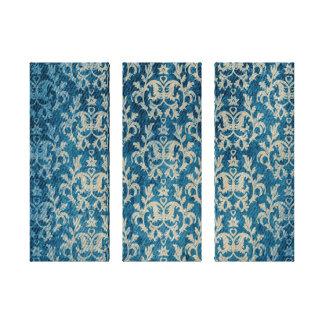 Damask botanic & hearts blue golden triptych print canvas print