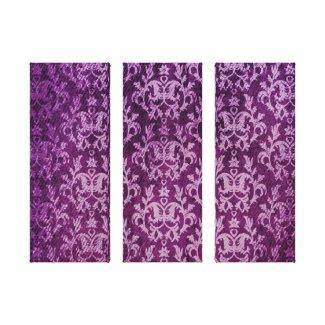 Damask botanic & hearts purple triptych print wrappedcanvas